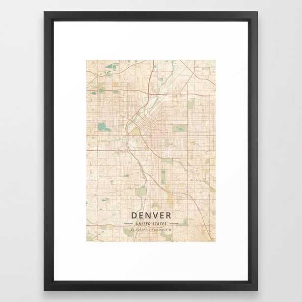 "Denver,  United States Vintage Map, Framed Art Print - 20""x 26"" - Vector Black Frame - Society6"