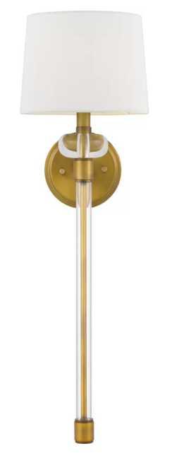 Rosalva 1-Light Armed Sconce- Weathered Brass - Wayfair