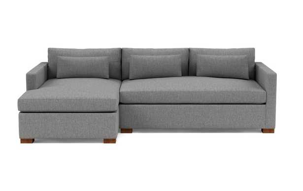 """CHARLY Sectional Sofa with Left Chaise (12-14 Weeks) - Plow Cross Weave - Oiled Walnut Block Leg - 106"""" Sofa - Long Chaise - Bench Cushion - Standard Cushion - Interior Define"""