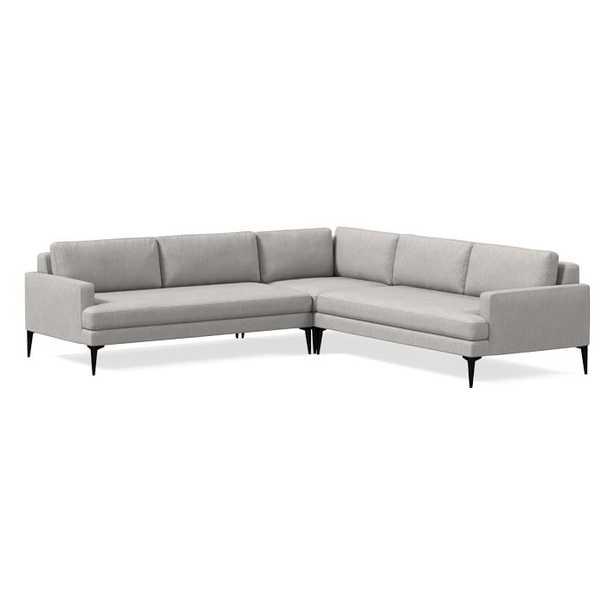 Andes Set 03: Right Arm 2.5 Seater Sofa + Left Arm 2.5 Seater Sofa + Corner, Performance Coastal Linen, Platinum, Dark Pewter - West Elm
