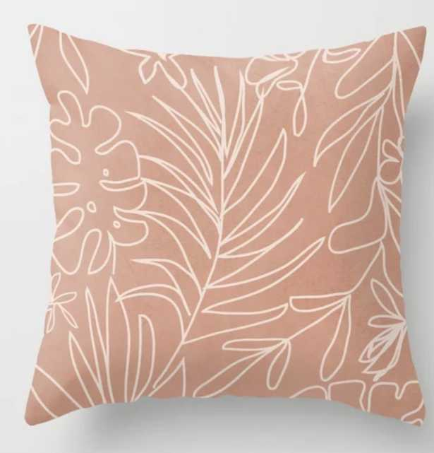 Engraved Tropical Line Throw Pillow - Society6