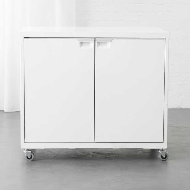 TPS White 2-Door Wide Cabinet - CB2