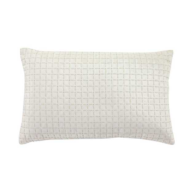 21 in. x 13 in. Rectangle Cream-Color Velvet Decorative Lumbar Pillow with Beige Crisscross Pattern, Crystal Bugle Beads, Ivory - Home Depot