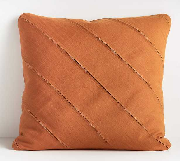 """Theta Teal Linen Pillow with Feather-Down Insert 20"""" - Crate and Barrel"""