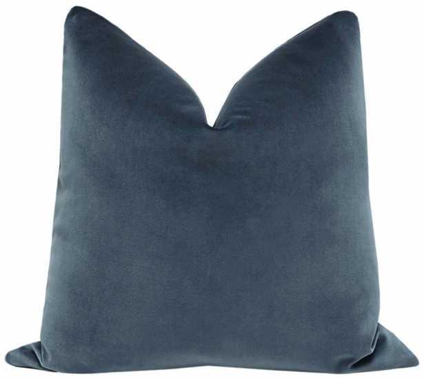 Signature Velvet // Prussian Blue Throw Pillow Cover - 26'' x 26'' - no insert - Little Design Company