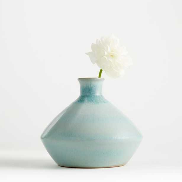 Mireya Mint Blue Vase - Crate and Barrel