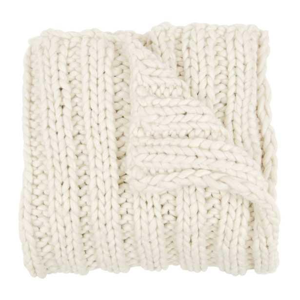 Kate and Laurel Chunky Knit Throw - Ivory - Wayfair