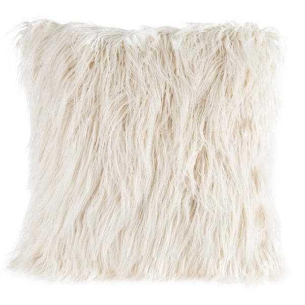 """White 18"""" W x 18"""" L Faux Mongolian Fur Decorative Throw Pillow - Home Depot"""