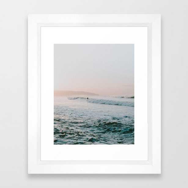 """summer waves Framed Art Print - 10"""" x 12"""", vector white - Society6"""