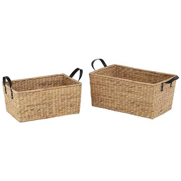 Hyacinth Open-Top 2-Piece Rectangular Basket Set - Lamps Plus