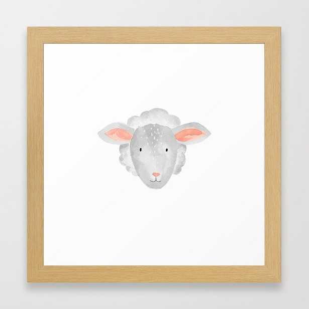 "Sheep Nursery Framed Art Print, 12""x12"", Conservation Natural - Society6"