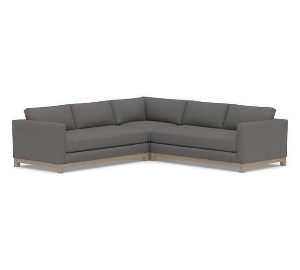 Jake Upholstered 3-Piece L-Shaped Corner Sectional with Wood Legs, Polyester Wrapped Cushions, Performance Brushed Basketweave Slate - Pottery Barn