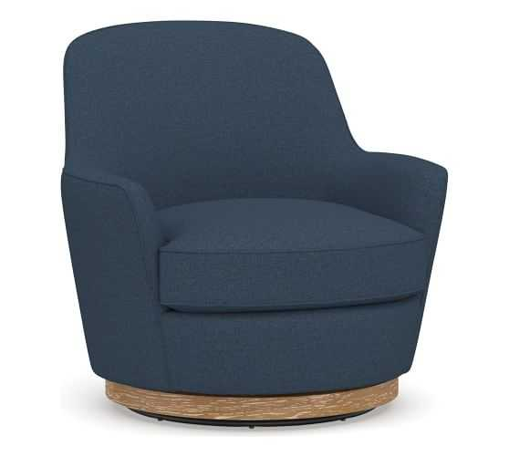 Larkin Upholstered Swivel Armchair, Polyester Wrapped Cushions, Brushed Crossweave Navy - Pottery Barn