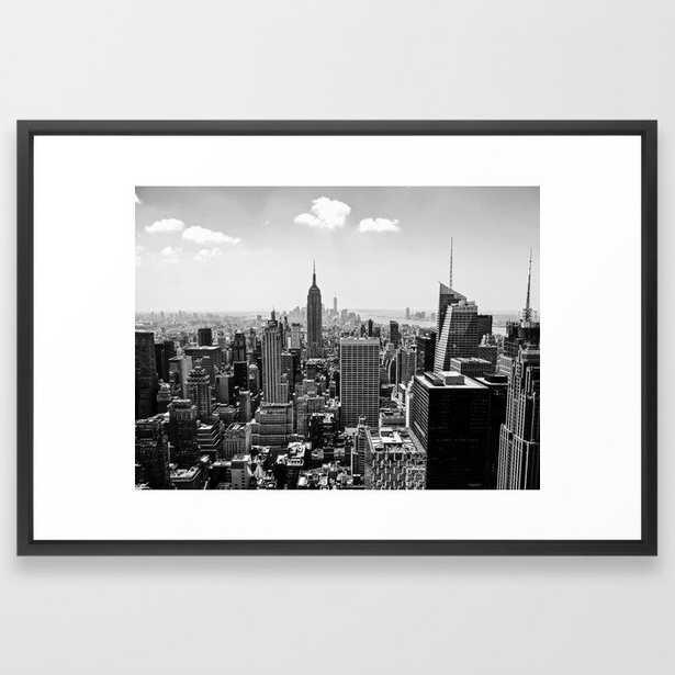 New York Skyline Framed Art Print - 26x38 - vector black frame - Society6