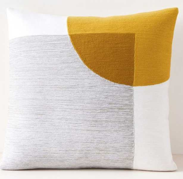 Crewel Overlapping Shapes Pillow Cover, Pearl Gray - West Elm