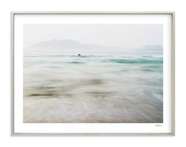 """the pacific - 40"""" x 30"""", champagne silver frame, white border, signature - Minted"""