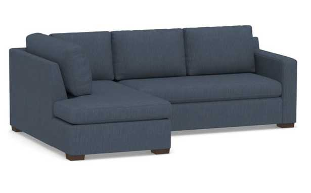 Shasta Square Arm Upholstered Right Sofa Return Bumper Sectional, Polyester Wrapped Cushions, Performance Heathered Tweed Indigo - Pottery Barn