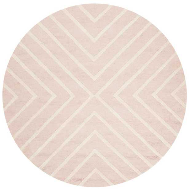 Kids Pink/Ivory 5 ft. x 5 ft. Round Area Rug - Home Depot
