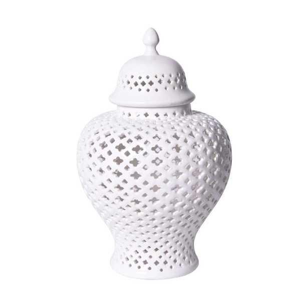 Scipio Modern Classic White Lattice Porcelain Lidded Ginger Jar - Large - Kathy Kuo Home