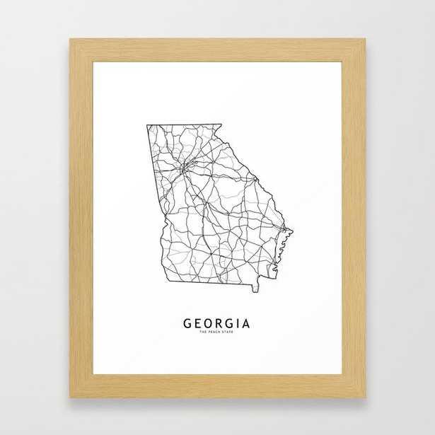 Georgia White Map Framed Art Print - Society6