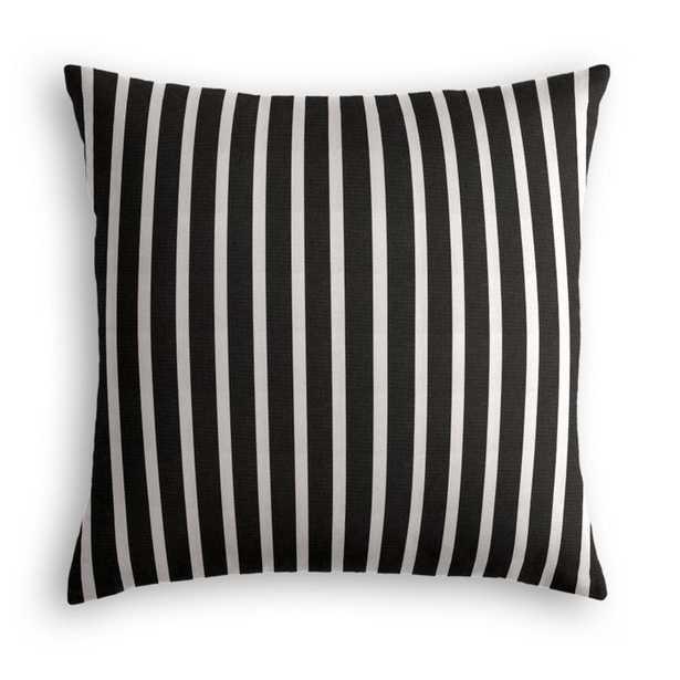 "black & white thin stripe throw pillow - 20""x20"" - Down Insert - Loom Decor"