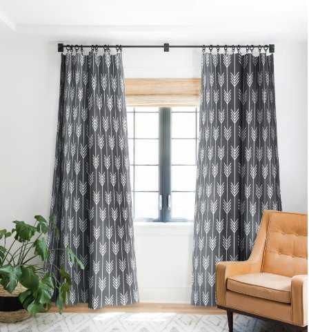 ARROWS GREY Blackout Window Curtain (2 panels) - Wander Print Co.
