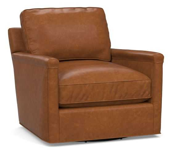 Tyler Leather Square Arm Swivel Armchair Without Nailheads, Down Blend Wrapped Cushions, Statesville Caramel - Pottery Barn
