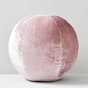 """Lush Velvet Sphere Pillow, 12"""", Dusty Blush - West Elm"""