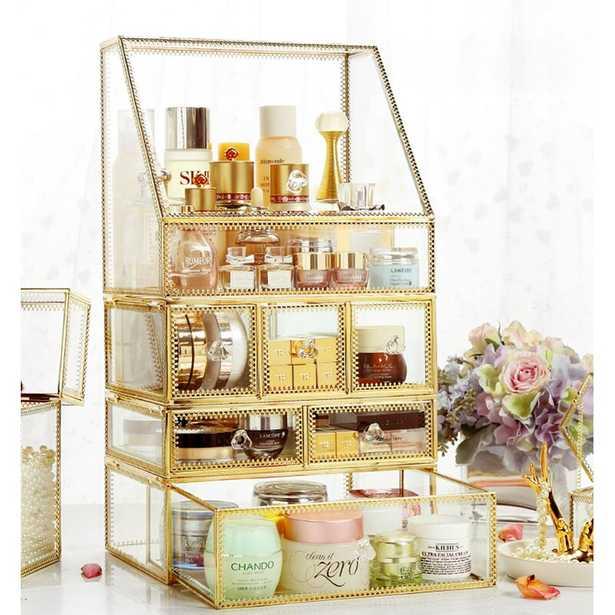 Condon Glass with Brass Makeup Organizer - Wayfair