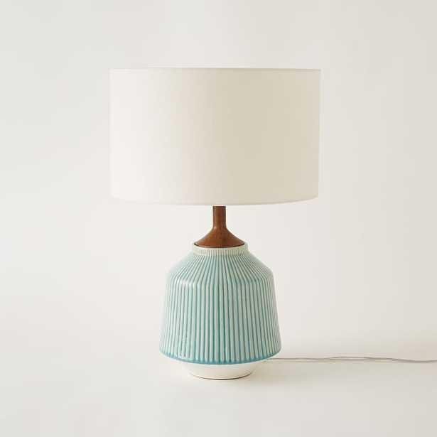 Roar + Rabbit Ripple Ceramic Table Lamp, Large, Turquoise - West Elm