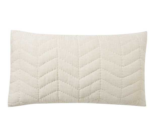 Flax Willow Linen/Cotton Twill Handcrafted Quilted Shams, King - Pottery Barn
