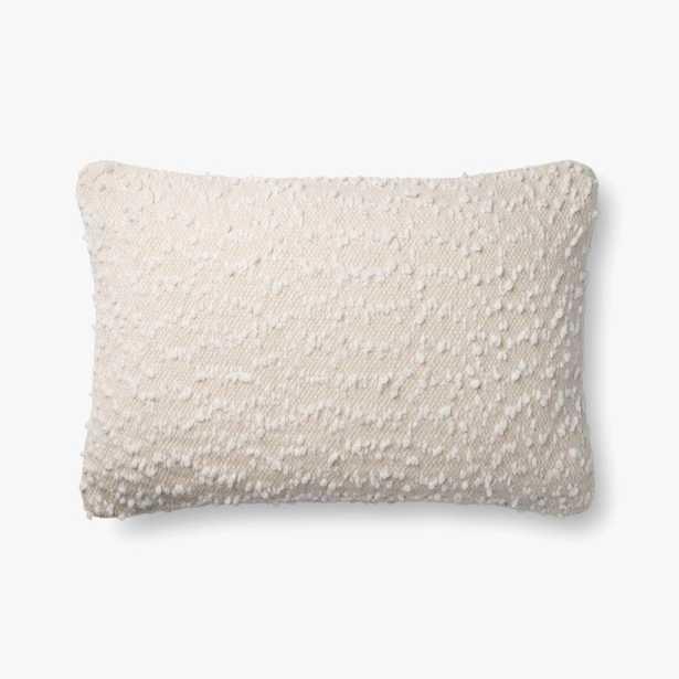 "Loloi PILLOWS P0859 Ivory / White 16"" x 26"" Cover w/Poly - Loma Threads"