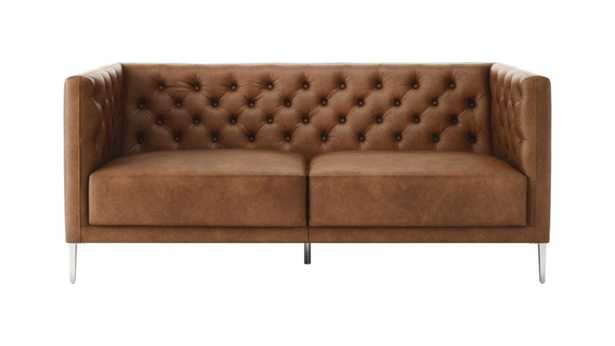 Savile Saddle Leather Tufted Apartment Sofa // Estimated in early August - CB2
