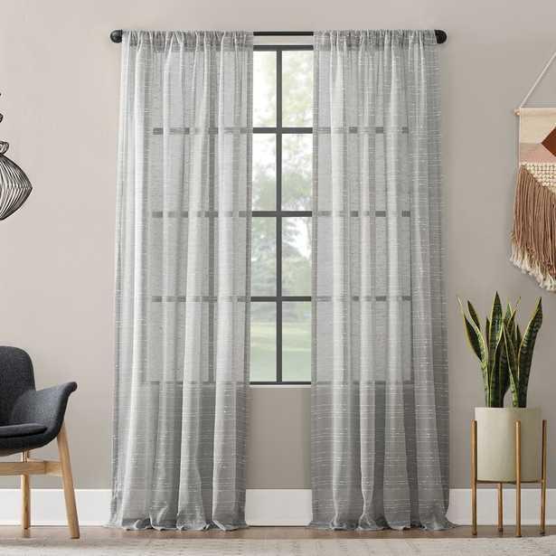 "Textured Slub Anti-Dust Striped Semi-Sheer Rod Pocket Curtain Panel_95"" - Wayfair"