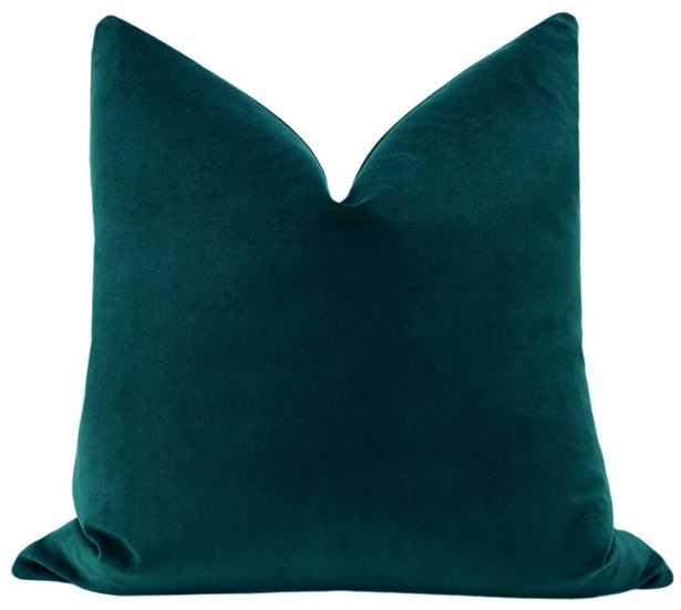 Classic Velvet Pillow Cover // Peacock - 20x20 - Little Design Company