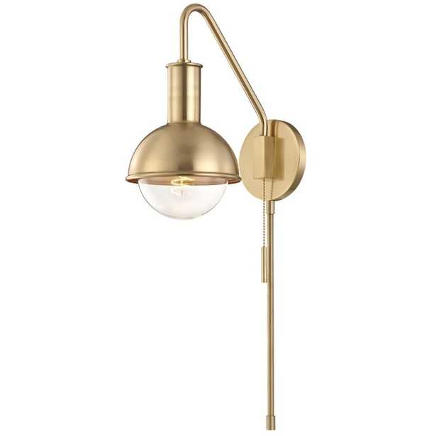 Riley 1 Light Wall Sconce With Plug by Mitzi - Brass - Burke Decor