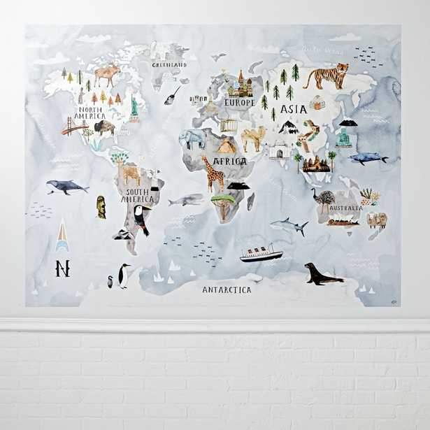 Watercolor World Map Mural Decal - Crate and Barrel