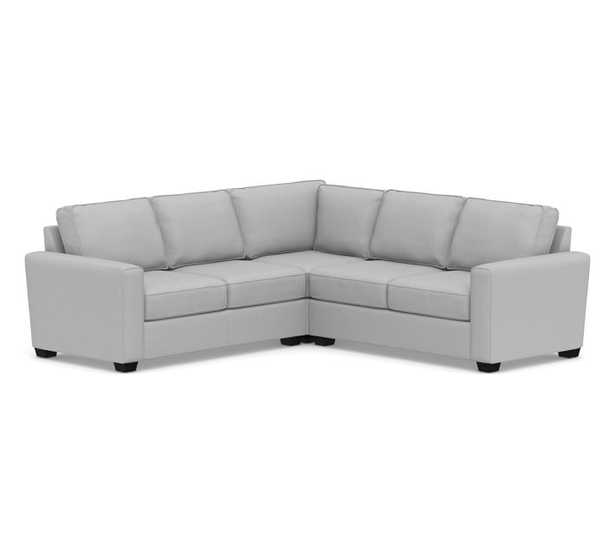 SoMa Fremont Square Arm Upholstered 3-Piece L-Shaped Corner Sectional, Polyester Wrapped Cushions, Brushed Crossweave Light Gray - Pottery Barn