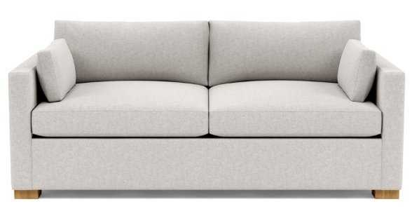 """Charly 83"""" Sofa with Pebble Heathered Weave, Natural Oak Legs, & 2 Cushions - Interior Define"""