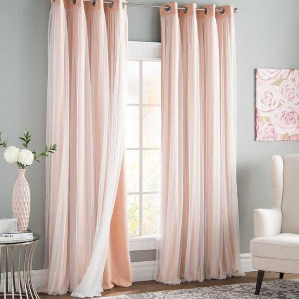 "Brockham Solid Blackout Thermal Grommet Curtain Panels - Peachy Pink, 52"" x 84"" L (set of 2) - Wayfair"