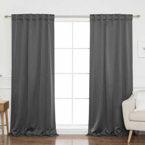 Vinita Heathered Linen Solid Blackout Thermal Tab Top Curtain Panels - Wayfair