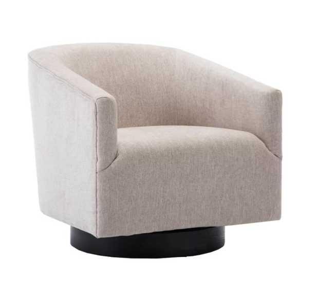 Foundstone Kylie Swivel Barrel Chair in Oatmeal - Wayfair