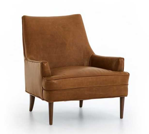 Reyes Leather Armchair, Polyester Wrapped Cushions, Statesville Caramel - Pottery Barn