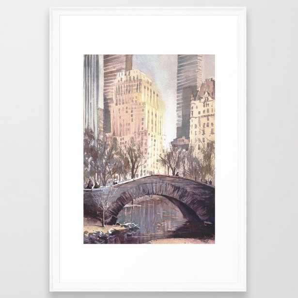 Skyscrapers rising above iconic bridge in Central Park- New York City, New Yo Framed Art Print - Society6