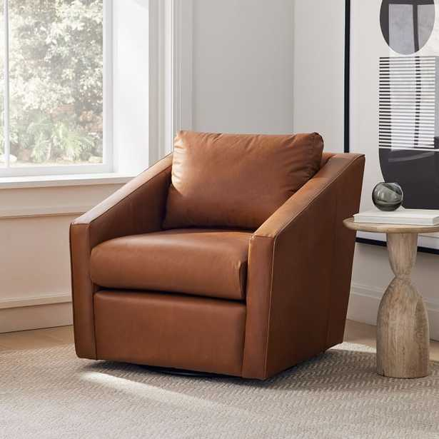 Tessa Swivel Chair, Poly, Ludlow Leather, Mace, Concealed Support - West Elm