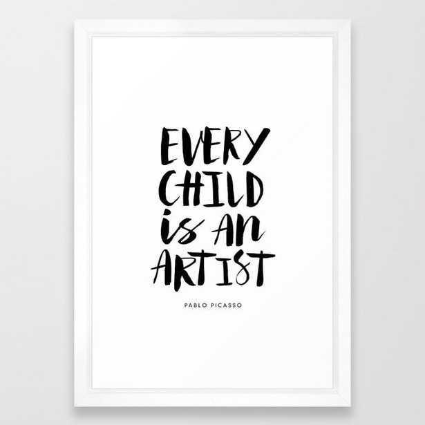 Every Child is an Artist black-white kindergarten nursery kids childrens room wall home decor Framed Art Print - Society6
