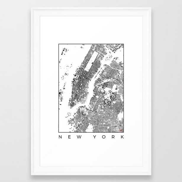 New York Map Schwarzplan Only Buildings Framed Art Print by City Art Posters - Society6