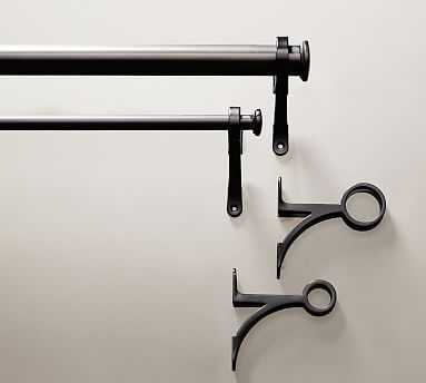 "PB Standard Drape Rod and Wall Bracket, .75"" diam., Medium, Antique Bronze Finish - Pottery Barn"
