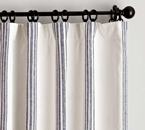 "Riviera Striped Linen/Cotton Blackout Curtain, 50 X 96"", Navy - Pottery Barn"