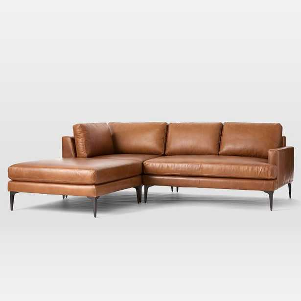 Andes Sectional Set 02: Right Arm 2.5 Seater Sofa, Corner, Ottoman, Vegan Leather, Saddle, Dark Pewter, Poly - West Elm